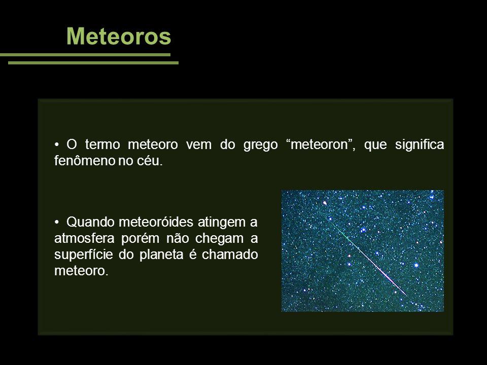 Cratera Meteor A cratera de impacto mais famosa é a Meteor: 1,2Km de diâmetro Localizada no Arizona - EUA Aproximadamente 49 000 anos Cratera equivalente a uma explosão nuclear