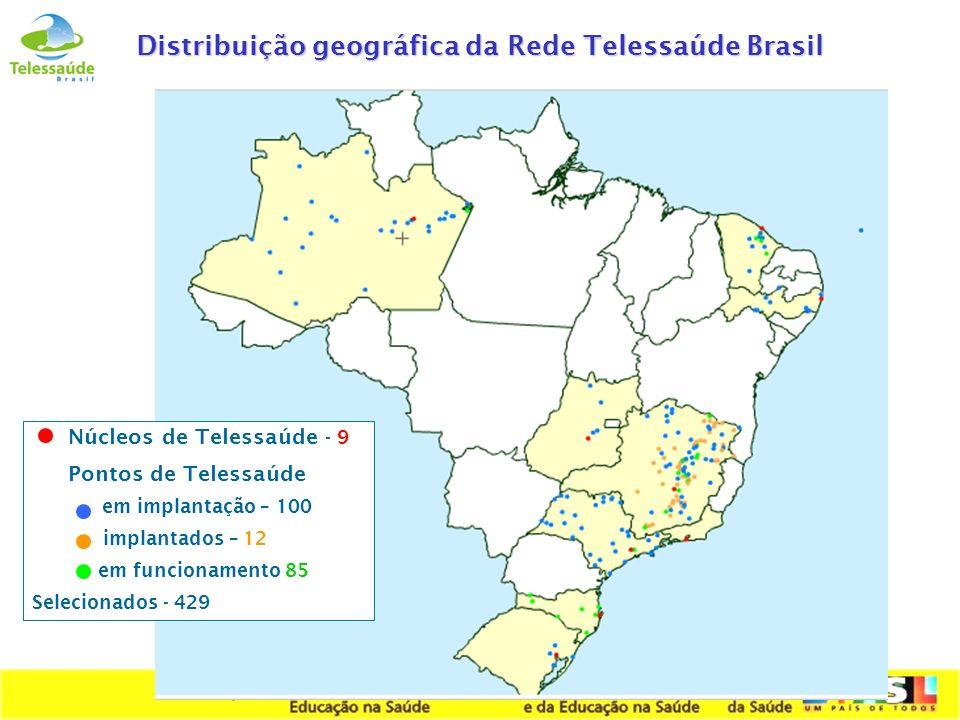 Secretaria de Gestão do Trabalho e da Educação na Saúde Distribuição geográfica da Rede Telessaúde Brasil Núcleos de Telessaúde - 9 Pontos de Telessaú