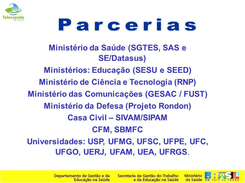 Secretaria de Gestão do Trabalho e da Educação na Saúde Ministério da Saúde (SGTES, SAS e SE/Datasus) Ministérios: Educação (SESU e SEED) Ministério d