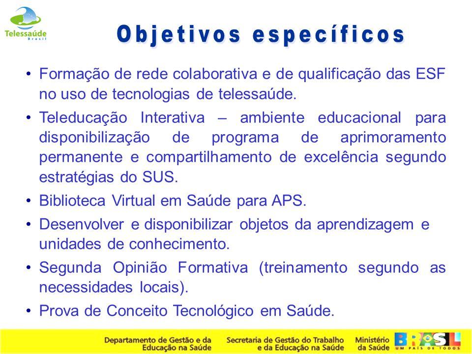 Secretaria de Gestão do Trabalho e da Educação na Saúde Formação de rede colaborativa e de qualificação das ESF no uso de tecnologias de telessaúde. T