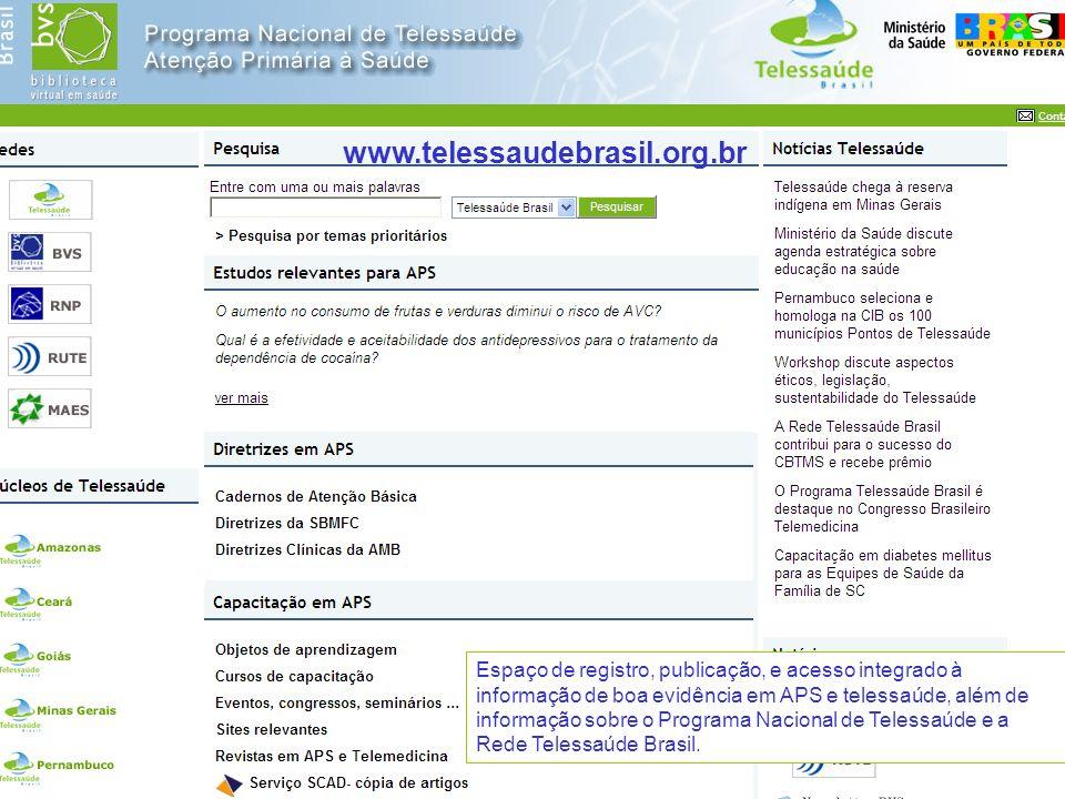 Secretaria de Gestão do Trabalho e da Educação na Saúde Espaço de registro, publicação, e acesso integrado à informação de boa evidência em APS e tele