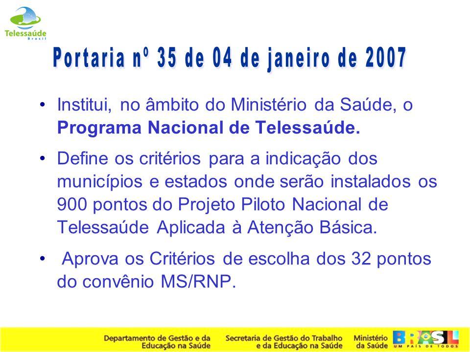 Secretaria de Gestão do Trabalho e da Educação na Saúde Estratégias para Telessaúde 2005 2006 Elaboração e entrega do Projeto Nacional de Telessaúde a SGTES/MS Articulação Interministerial (MEC, MCT / RNP,...) Portaria Nº 561 - Criação da Comissão Permanente de Telessaúde Pactuação na CIT Planejamento com os Núcleos Universitários Portaria No.