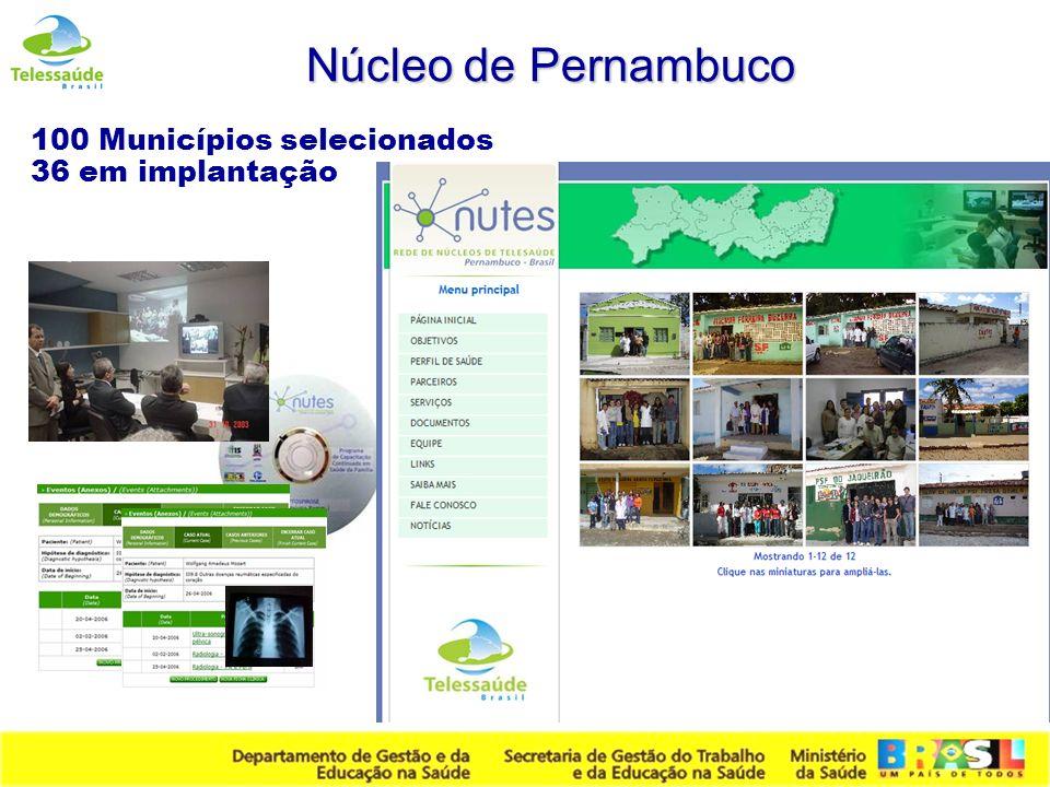 Secretaria de Gestão do Trabalho e da Educação na Saúde Núcleo de Pernambuco 100 Municípios selecionados 36 em implantação