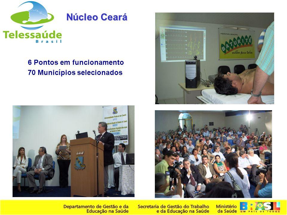 Secretaria de Gestão do Trabalho e da Educação na Saúde 6 Pontos em funcionamento 70 Municípios selecionados Núcleo Ceará