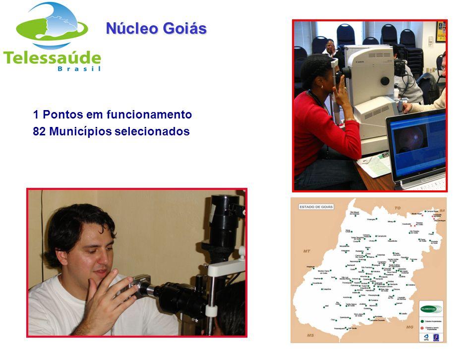 Secretaria de Gestão do Trabalho e da Educação na Saúde 1 Pontos em funcionamento 82 Municípios selecionados Núcleo Goiás