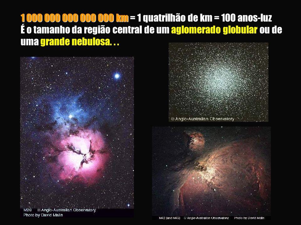 1 000 000 000 000 000 km = 1 quatrilhão de km = 100 anos-luz É o tamanho da região central de um ou de uma 1 000 000 000 000 000 km = 1 quatrilhão de