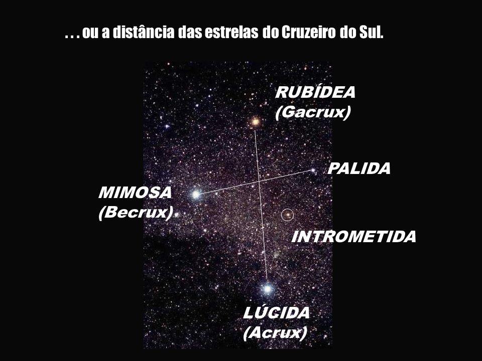 ... ou a distância das estrelas do Cruzeiro do Sul. RUBÍDEA (Gacrux) LÚCIDA (Acrux) PALIDA INTROMETIDA MIMOSA (Becrux)