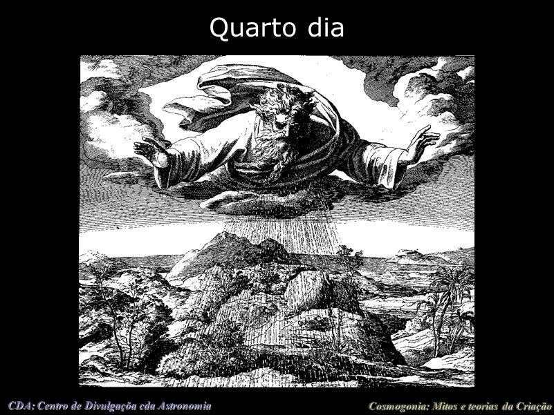 Cosmogonia: Mitos e teorias da Criação CDA: Centro de Divulgaçõa cda Astronomia Quarto dia