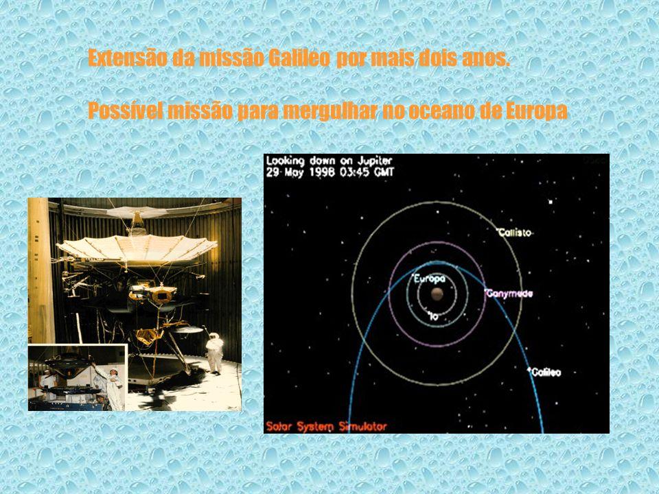 Extensão da missão Galileo por mais dois anos. Possível missão para mergulhar no oceano de Europa