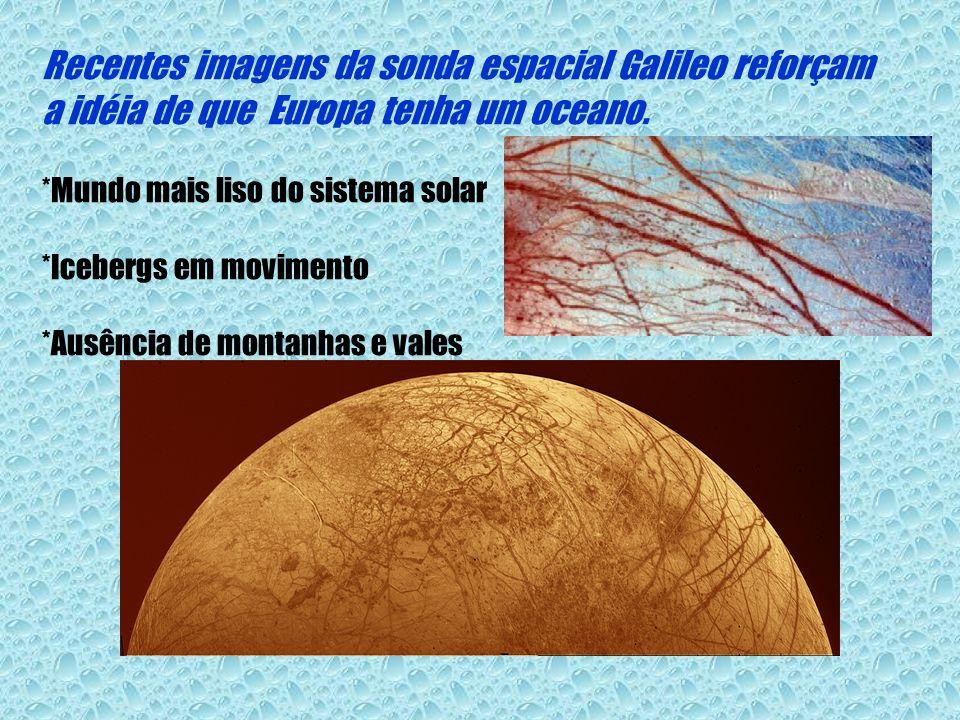 Recentes imagens da sonda espacial Galileo reforçam a idéia de que Europa tenha um oceano. *Mundo mais liso do sistema solar *Icebergs em movimento *A