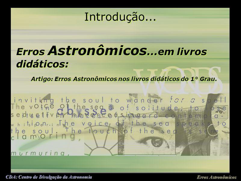Eros Asronomicôs Em livros didáticos Welton Antonio Gomes Erros Astronômicos