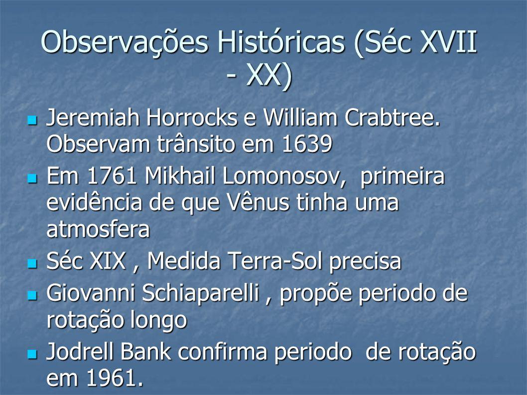 Observações Históricas (Séc XVII - XX) Jeremiah Horrocks e William Crabtree. Observam trânsito em 1639 Jeremiah Horrocks e William Crabtree. Observam