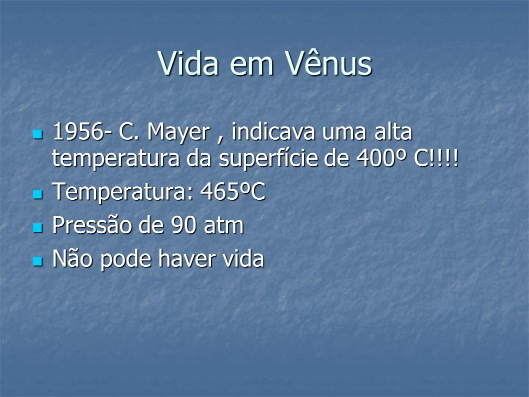 Vida em Vênus 1956- C. Mayer, indicava uma alta temperatura da superfície de 400º C!!!! 1956- C. Mayer, indicava uma alta temperatura da superfície de