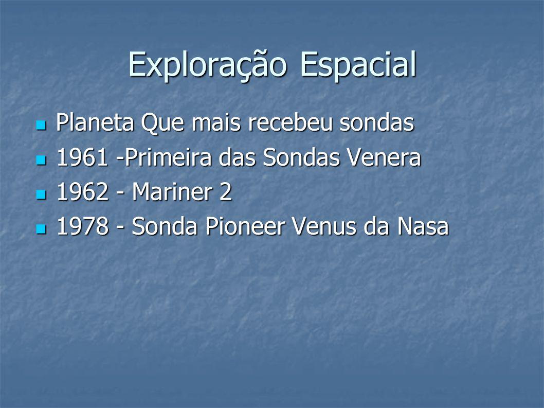 Exploração Espacial Planeta Que mais recebeu sondas Planeta Que mais recebeu sondas 1961 -Primeira das Sondas Venera 1961 -Primeira das Sondas Venera 1962 - Mariner 2 1962 - Mariner 2 1978 - Sonda Pioneer Venus da Nasa 1978 - Sonda Pioneer Venus da Nasa