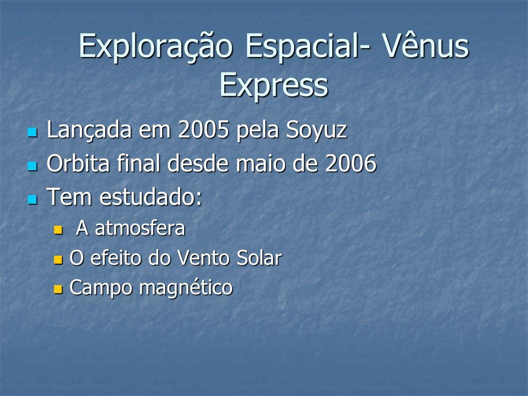 Exploração Espacial- Vênus Express Lançada em 2005 pela Soyuz Lançada em 2005 pela Soyuz Orbita final desde maio de 2006 Orbita final desde maio de 2006 Tem estudado: Tem estudado: A atmosfera A atmosfera O efeito do Vento Solar O efeito do Vento Solar Campo magnético Campo magnético