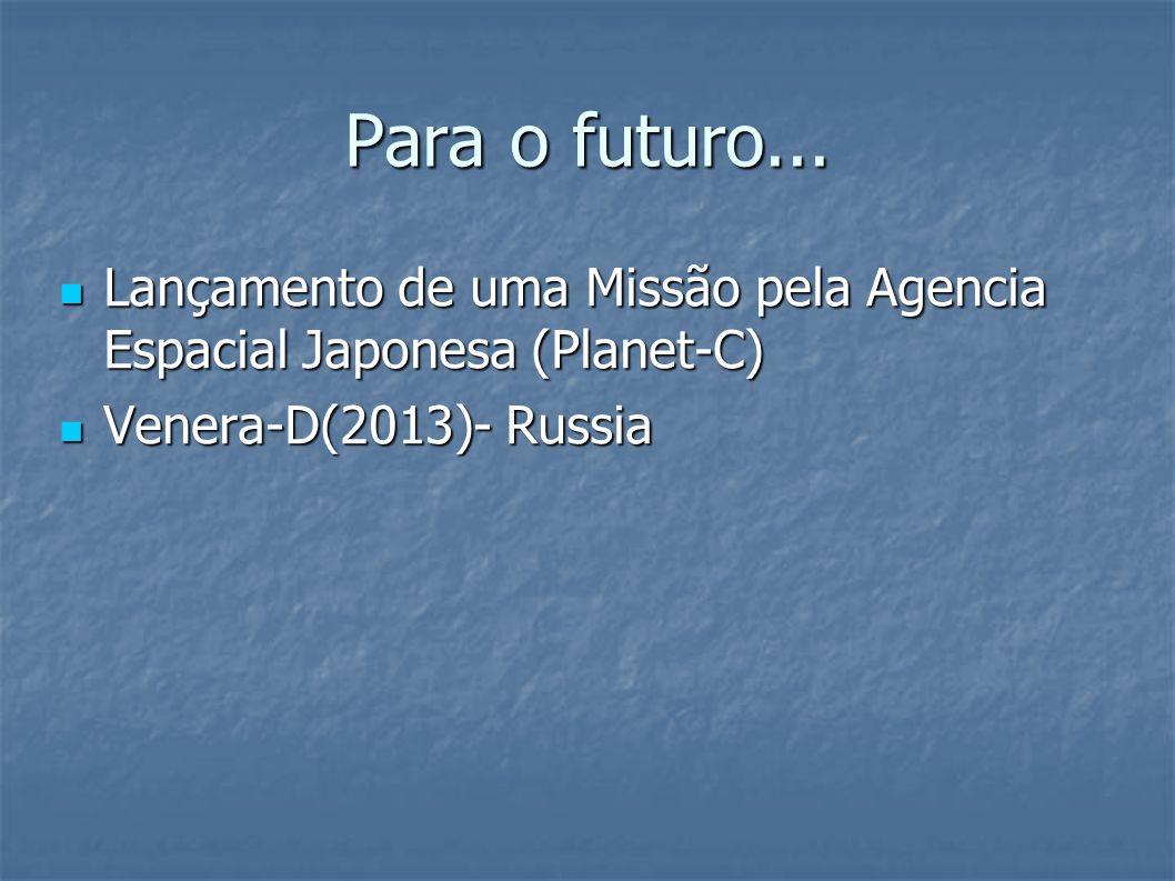Para o futuro... Lançamento de uma Missão pela Agencia Espacial Japonesa (Planet-C) Lançamento de uma Missão pela Agencia Espacial Japonesa (Planet-C)