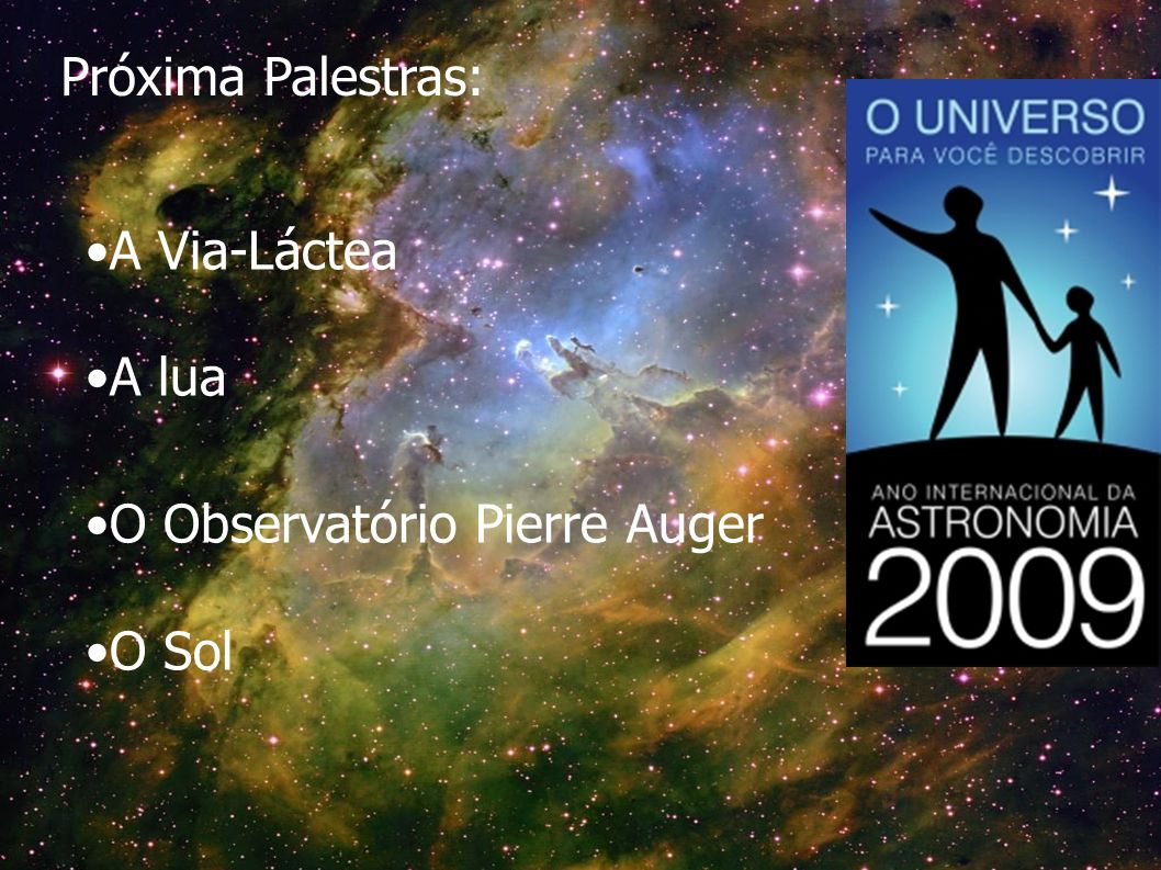 Próxima Palestras: A Via-Láctea A lua O Observatório Pierre Auger O Sol
