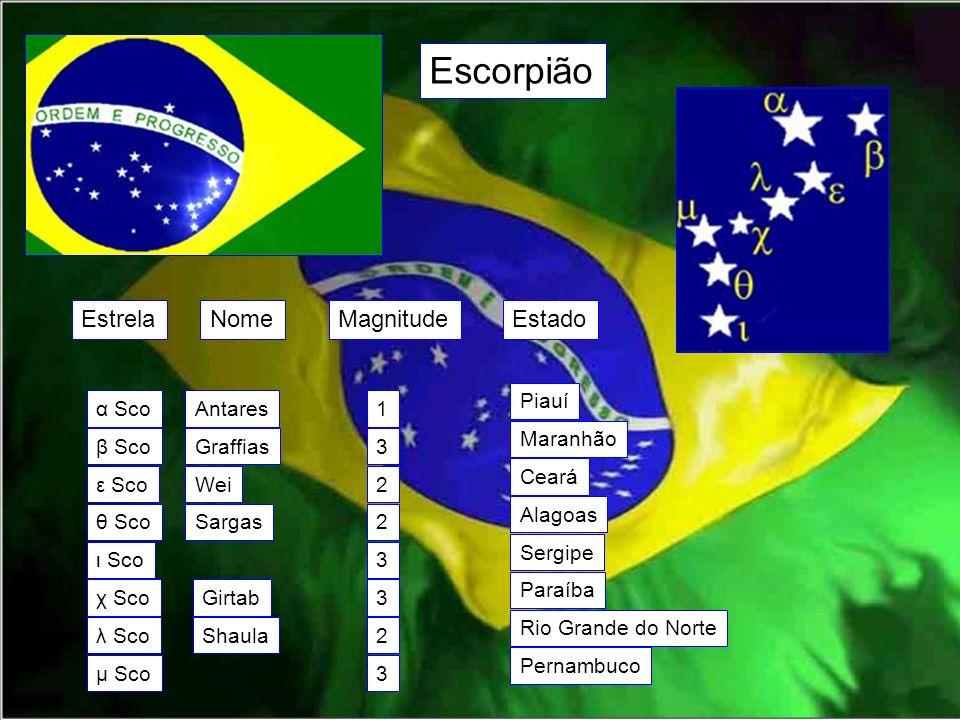 Escorpião EstrelaNomeMagnitudeEstado α Sco β Sco ε Sco θ Sco ι Sco χ Sco λ Sco μ Sco Antares Graffias Wei Sargas Girtab Shaula 1 3 2 2 3 3 2 3 Piauí M