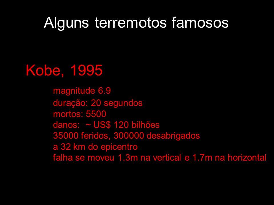 Alguns terremotos famosos Kobe, 1995 magnitude 6.9 duração: 20 segundos mortos: 5500 danos: ~ US$ 120 bilhões 35000 feridos, 300000 desabrigados a 32
