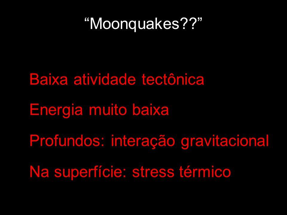 Moonquakes?? Baixa atividade tectônica Energia muito baixa Profundos: interação gravitacional Na superfície: stress térmico