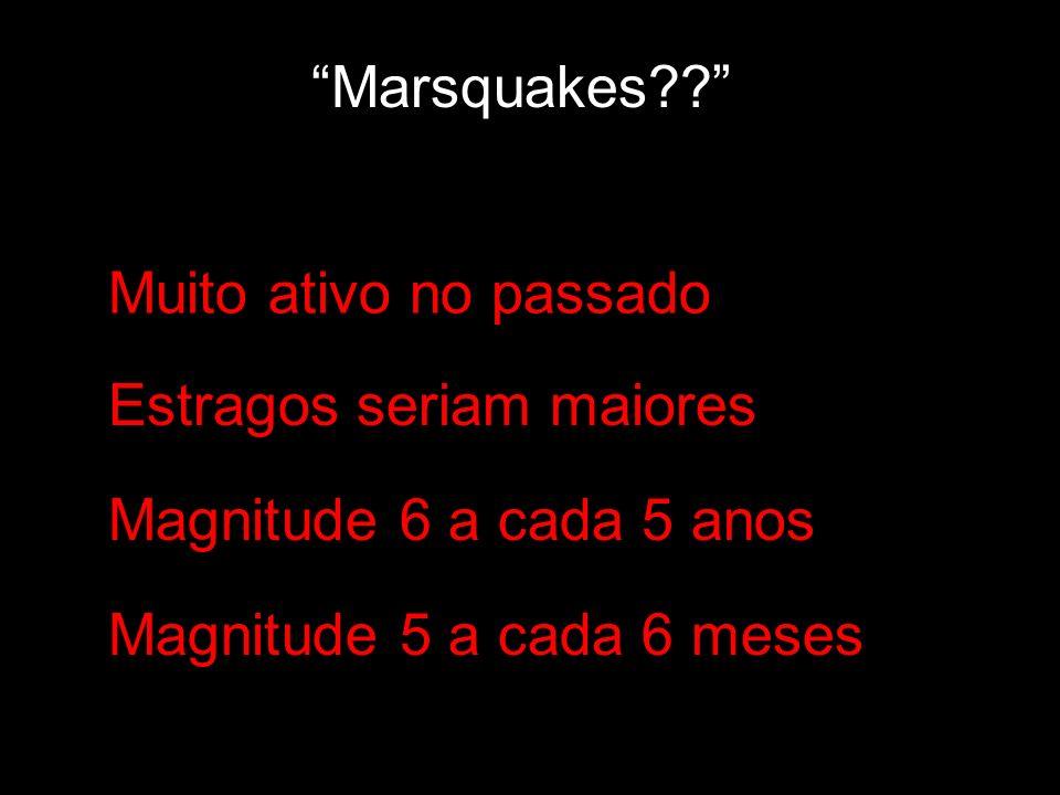 Marsquakes?? Muito ativo no passado Estragos seriam maiores Magnitude 6 a cada 5 anos Magnitude 5 a cada 6 meses