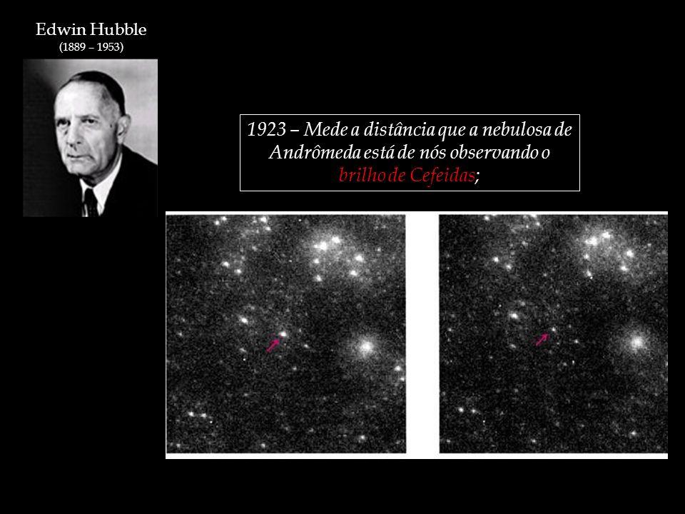 Edwin Hubble (1889 – 1953) 1923 – Mede a distância que a nebulosa de Andrômeda está de nós observando o brilho de Cefeidas;