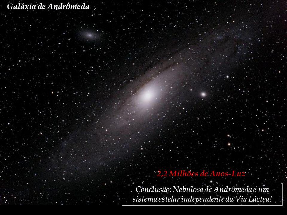 Galáxia de Andrômeda 2,2 Milhões de Anos-Luz Conclusão: Nebulosa de Andrômeda é um sistema estelar independente da Via Láctea!