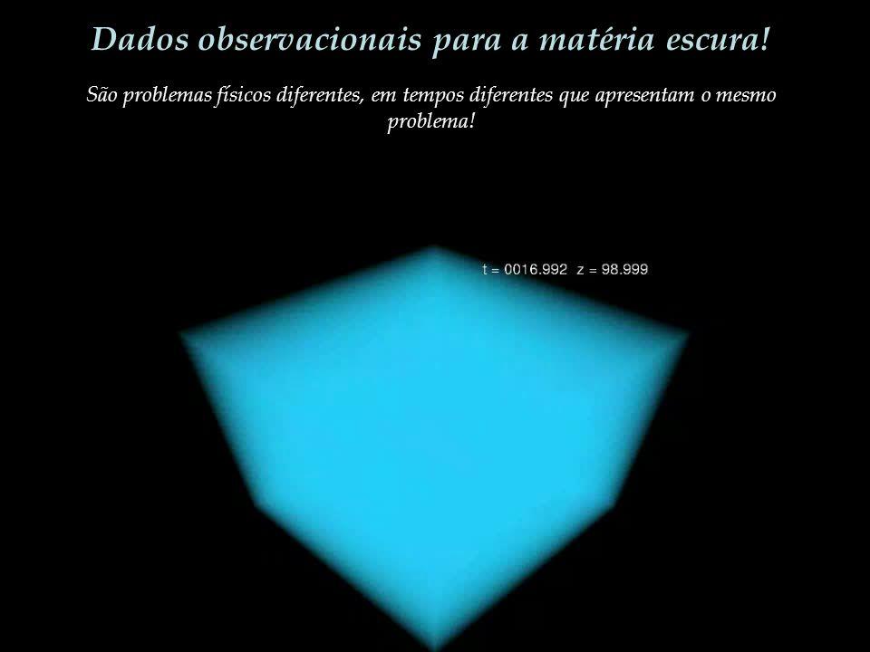 Dados observacionais para a matéria escura! São problemas físicos diferentes, em tempos diferentes que apresentam o mesmo problema!