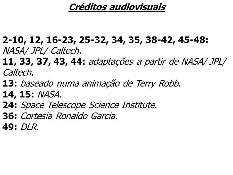 Créditos audiovisuais 2-10, 12, 16-23, 25-32, 34, 35, 38-42, 45-48: NASA/ JPL/ Caltech. 11, 33, 37, 43, 44: adaptações a partir de NASA/ JPL/ Caltech.