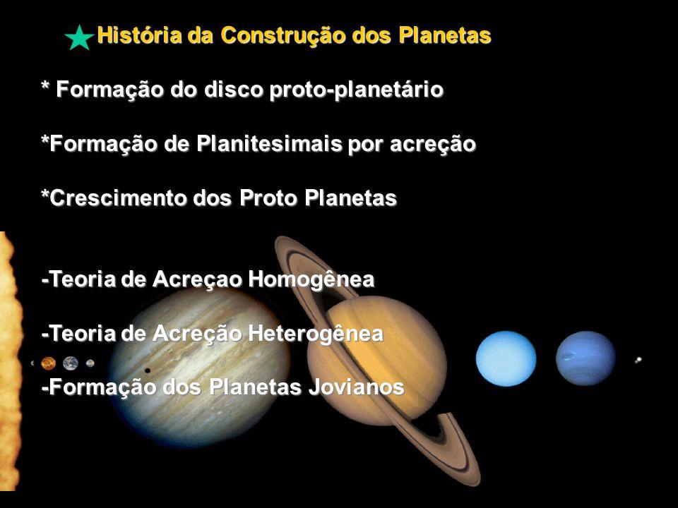 História da Construção dos Planetas História da Construção dos Planetas * Formação do disco proto-planetário *Formação de Planitesimais por acreção *Crescimento dos Proto Planetas -Teoria de Acreçao Homogênea -Teoria de Acreção Heterogênea -Formação dos Planetas Jovianos