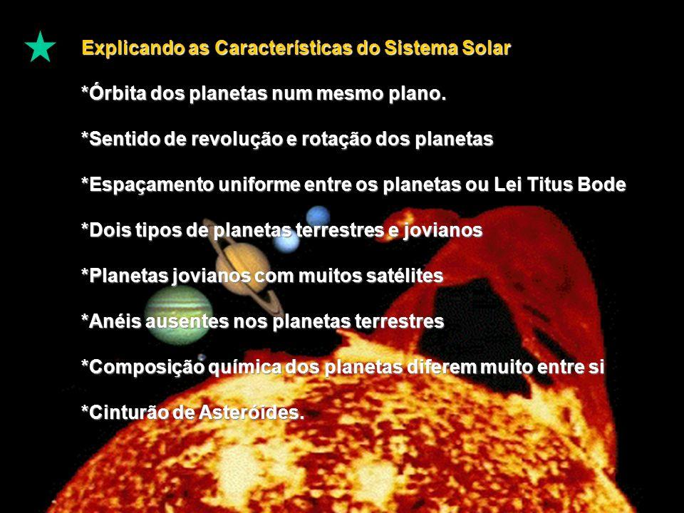 Explicando as Características do Sistema Solar *Órbita dos planetas num mesmo plano.