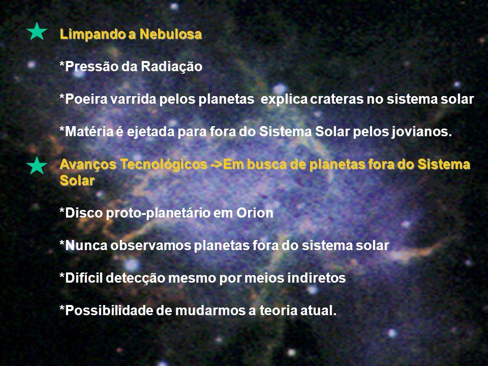 Limpando a Nebulosa *Pressão da Radiação *Poeira varrida pelos planetas explica crateras no sistema solar *Matéria é ejetada para fora do Sistema Solar pelos jovianos.