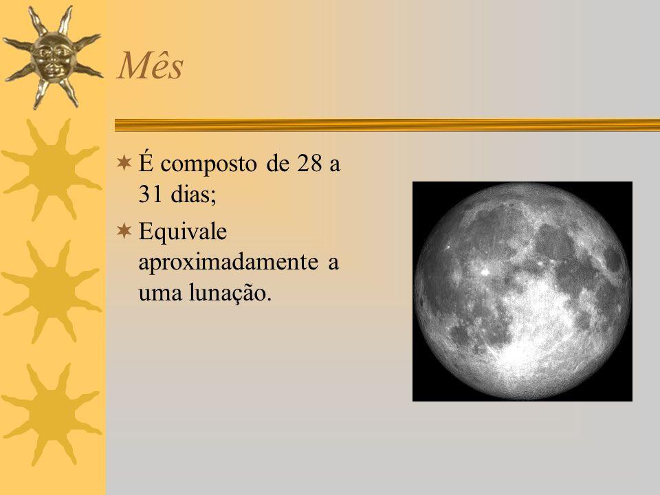 Mês É composto de 28 a 31 dias; Equivale aproximadamente a uma lunação.