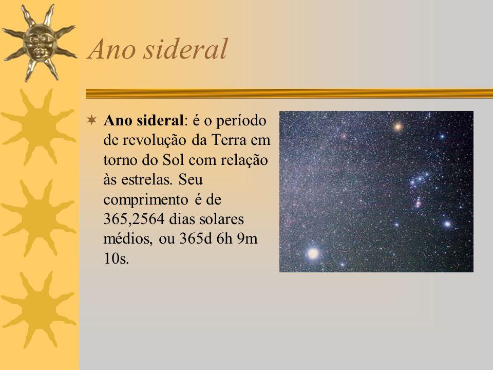 Ano sideral Ano sideral: é o período de revolução da Terra em torno do Sol com relação às estrelas. Seu comprimento é de 365,2564 dias solares médios,