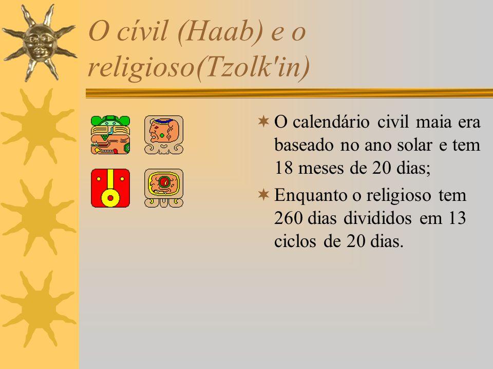 O cívil (Haab) e o religioso(Tzolk'in) O calendário civil maia era baseado no ano solar e tem 18 meses de 20 dias; Enquanto o religioso tem 260 dias d