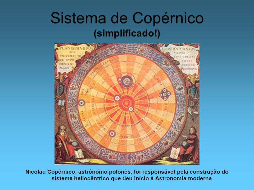 Sistema de Copérnico (simplificado!) Nicolau Copérnico, astrônomo polonês, foi responsável pela construção do sistema heliocêntrico que deu início à A