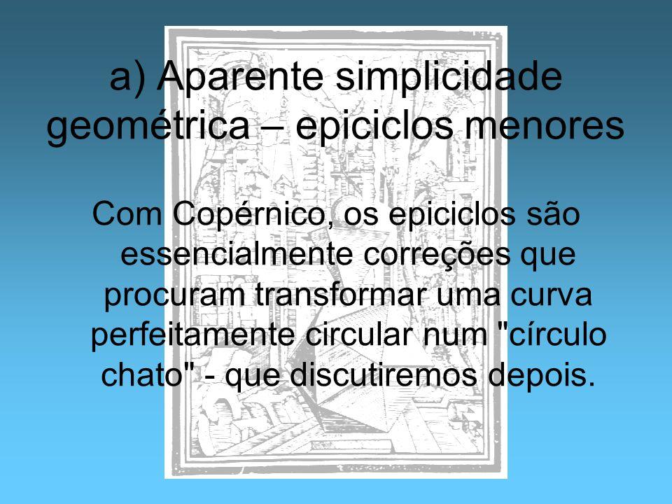 a) Aparente simplicidade geométrica – epiciclos menores Com Copérnico, os epiciclos são essencialmente correções que procuram transformar uma curva pe