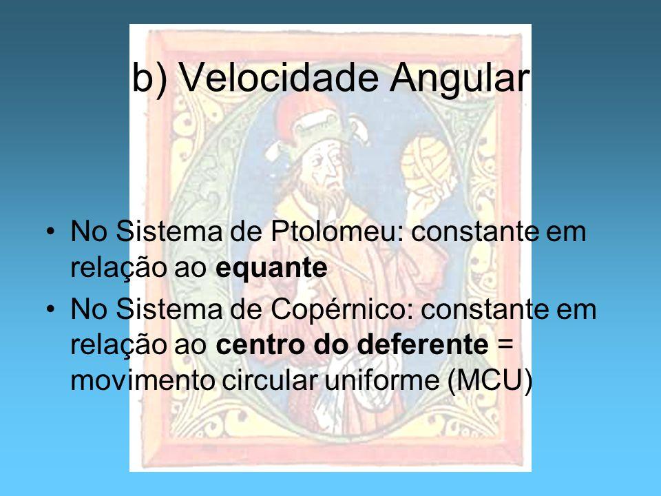 b) Velocidade Angular No Sistema de Ptolomeu: constante em relação ao equante No Sistema de Copérnico: constante em relação ao centro do deferente = m