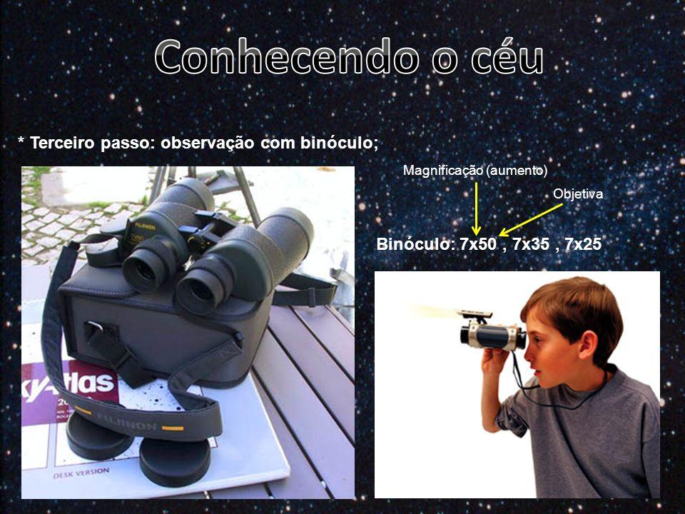 * Terceiro passo: observação com binóculo; Binóculo: 7x50, 7x35, 7x25 Magnificação (aumento) Objetiva