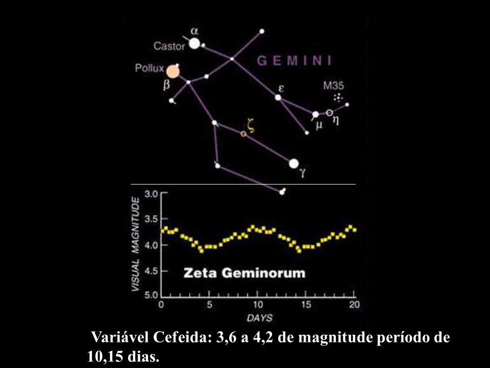Variável Cefeida: 3,6 a 4,2 de magnitude período de 10,15 dias.