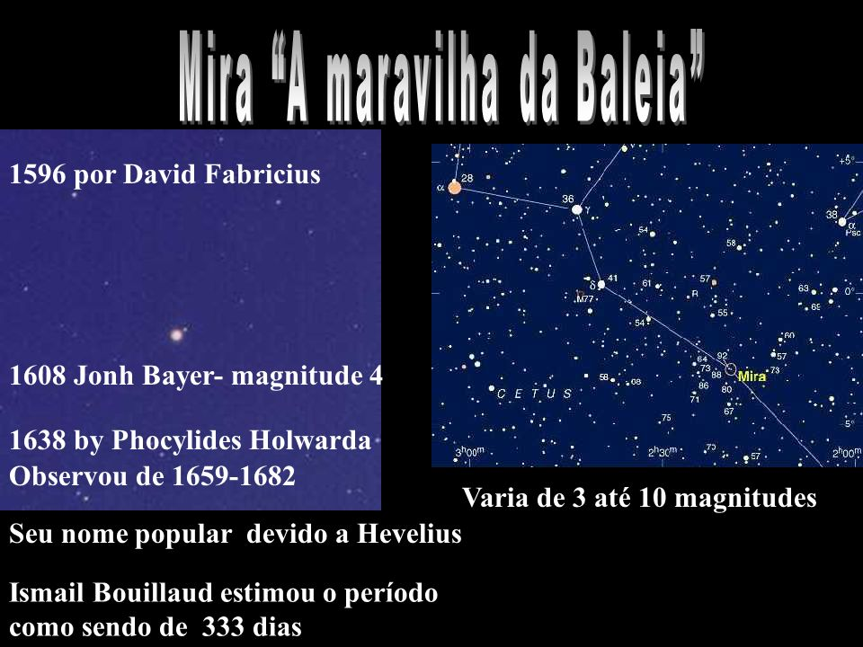 1596 por David Fabricius 1608 Jonh Bayer- magnitude 4 1638 by Phocylides Holwarda Observou de 1659-1682 Ismail Bouillaud estimou o período como sendo