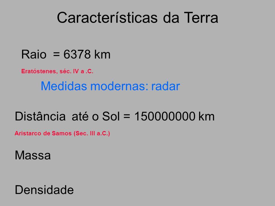 Características da Terra Raio = 6378 km Eratóstenes, séc. IV a.C. Distância até o Sol = 150000000 km Aristarco de Samos (Sec. III a.C.) Massa Densidad