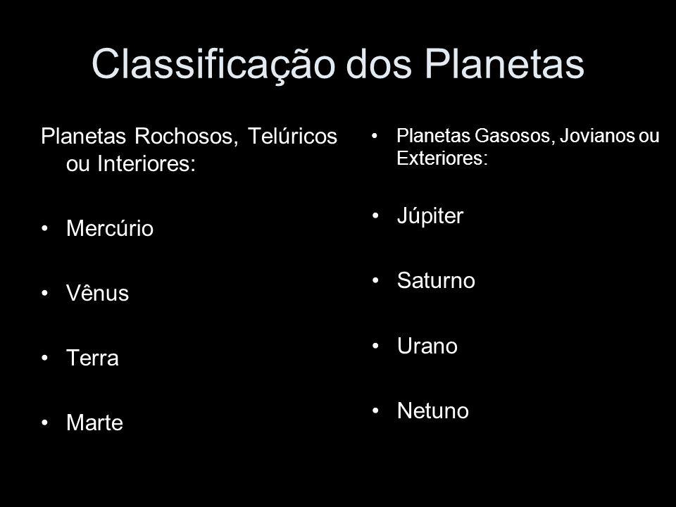 Classificação dos Planetas Planetas Rochosos, Telúricos ou Interiores: Mercúrio Vênus Terra Marte Planetas Gasosos, Jovianos ou Exteriores: Júpiter Sa