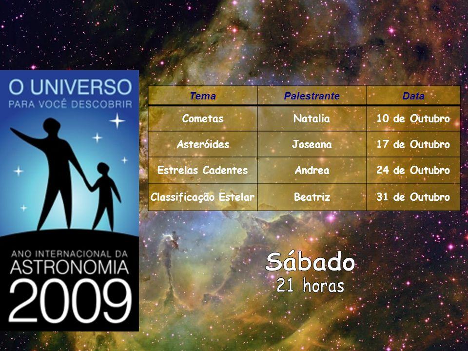TemaPalestranteData CometasNatalia10 de Outubro AsteróidesJoseana17 de Outubro Estrelas CadentesAndrea24 de Outubro Classificação EstelarBeatriz31 de
