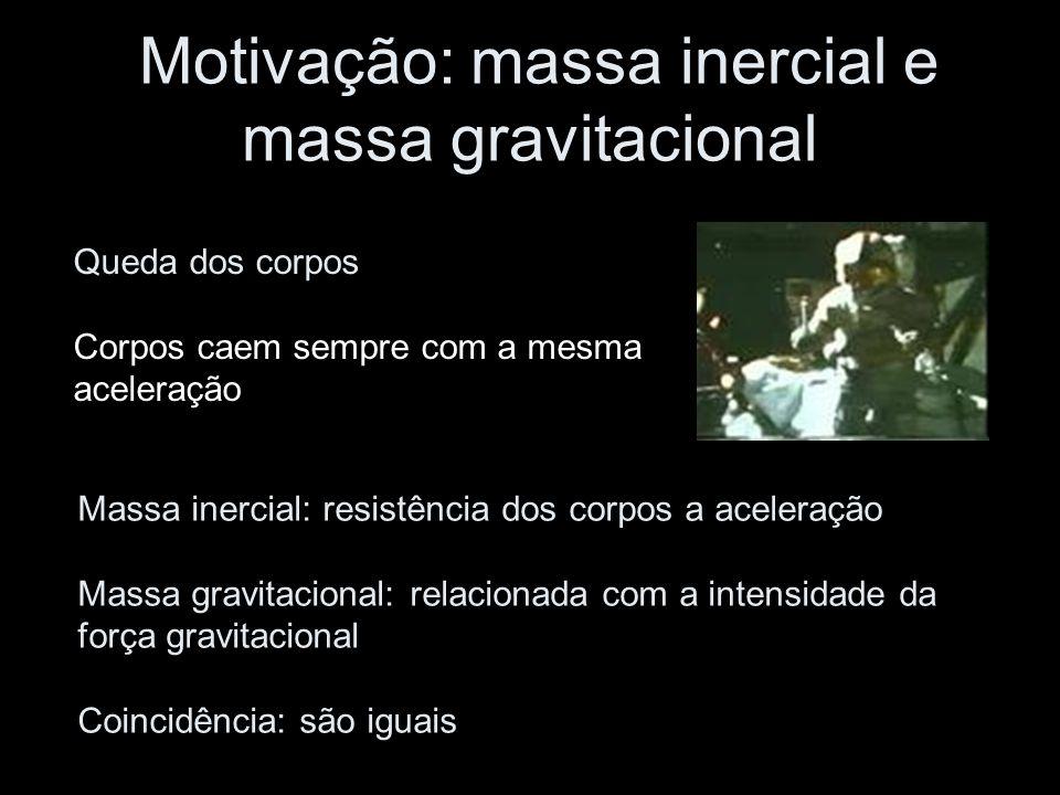 Motivação: massa inercial e massa gravitacional Queda dos corpos Corpos caem sempre com a mesma aceleração Massa inercial: resistência dos corpos a aceleração Massa gravitacional: relacionada com a intensidade da força gravitacional Coincidência: são iguais