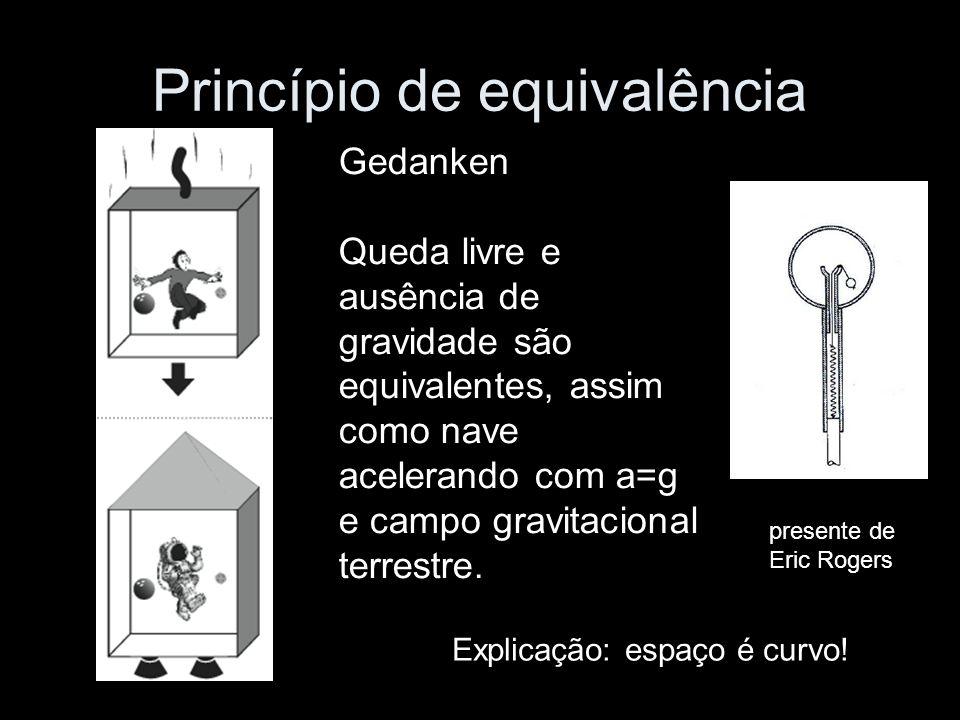 Princípio de equivalência Gedanken Queda livre e ausência de gravidade são equivalentes, assim como nave acelerando com a=g e campo gravitacional terrestre.