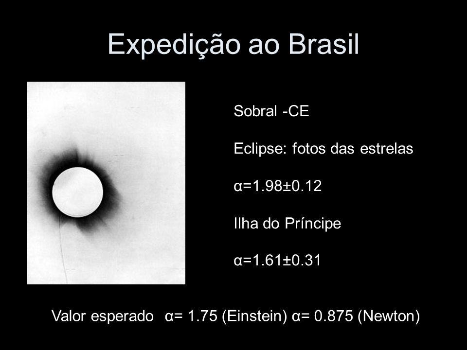 Expedição ao Brasil Sobral -CE Eclipse: fotos das estrelas α=1.98±0.12 Ilha do Príncipe α=1.61±0.31 Valor esperado α= 1.75 (Einstein) α= 0.875 (Newton