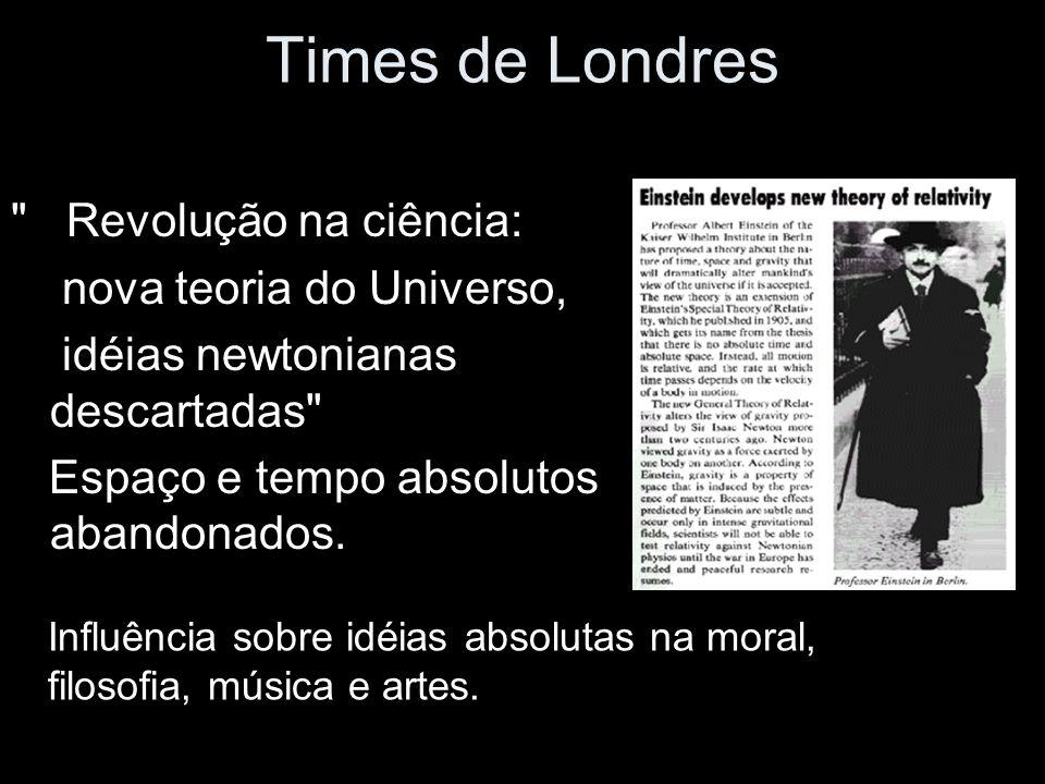 Times de Londres Revolução na ciência: nova teoria do Universo, idéias newtonianas descartadas Espaço e tempo absolutos abandonados.