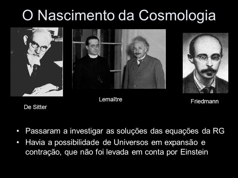 O Nascimento da Cosmologia Passaram a investigar as soluções das equações da RG Havia a possibilidade de Universos em expansão e contração, que não foi levada em conta por Einstein De Sitter Lemaître Friedmann