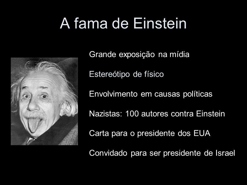 A fama de Einstein Grande exposição na mídia Estereótipo de físico Envolvimento em causas políticas Nazistas: 100 autores contra Einstein Carta para o presidente dos EUA Convidado para ser presidente de Israel